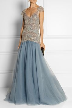 MarchesaEmbellished tulle gown #redcarpet #dresses
