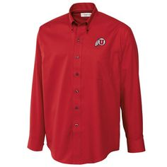 Utah Utes Cutter & Buck Big & Tall Epic Easy Care Fine Twill Long Sleeve Button-Down Shirt - Red
