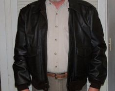 Vintage Aviator Jacket Brown Leather Size L 1980's Replica Father's Day Gift Idea