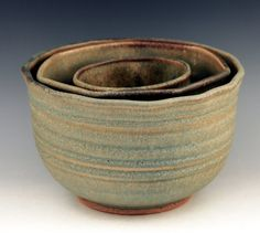 3 Bowl set wheel thrown altered bamboo ash glaze nesting by rmello
