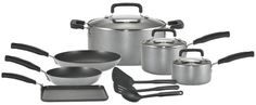 http://yummycakedecorating.com/t-fal-c110sc64-signature-oven-safe-nonstick-12-piece-dishwasher-safe-cookware-set-silver/ T-Fal Signature Non-Stick cookware is constructed of heavy guage aluminum and features a patterned nonstick interior that is exceptionally durable, scratch-resistant, and safe with metal utensils. The exterior coating is non-stick and silver in color and allows for carefree cleaning in the dishwasher. The base of the pan is war...