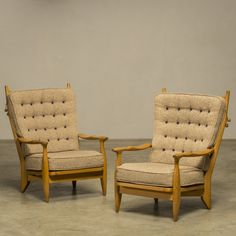 Grand Repos Lounge Chairs from Guillerme and Chambron, Set of 2 1