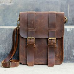 Mens Leather Satchel / Ipad Mini Messenger / Leather Man Bag - Distressed Leather Bag / Leather Bags and Purses