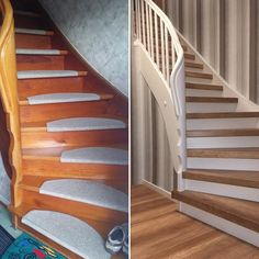 Staircase before-after How to go staircase renovation Laminate .- Treppe vorher-nachher So geht Laminatstufen Classic Style i… Stair before-after So go Laminate steps Classic Style im combined with white and The post stairs before-after appeared first - Stair Renovation, Water Bed, House Stairs, First Apartment, House Painting, House Design, Building, Hessen Germany, Home Decor