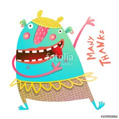 Vektor: Dancing Showing Cheerful Cute Monster for Children