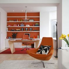 Home Office: Orange feature wall: Inspiring Interiors: Interiors. Find more ideas at Redonline.co.uk