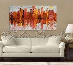 """56""""x24''Large Original oil abstract painting ''Winter Abstract Skyline'' by Julia Apostolova, Ready to hang Art Colorful Abstract Modern Wall Decor"""