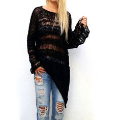 Black Loose Irregular Sweater