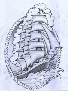Nautical Ocean design Tattoo P, Tatoo Art, Leg Tattoos, Body Art Tattoos, Sleeve Tattoos, Ship Tattoos, Arrow Tattoos, Tattoo Small, Tattoo Flash