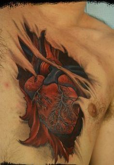 Truly Awesome Ripped Skin Heart Tattoo On Chest
