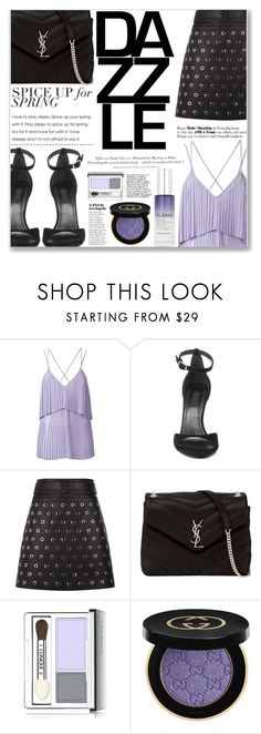 """Purple LOVE"" by brenndha ❤ liked on Polyvore featuring Elie Saab, Alexander Wang, Yves Saint Laurent, H&M, Clinique, Gucci, Elemis, GetTheLook, StreetStyle and TrickyTrend"