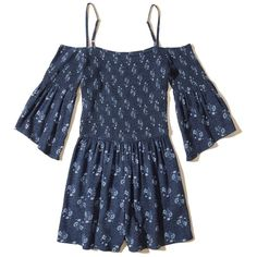 Hollister Smocked Cold Shoulder Romper ($31) ❤ liked on Polyvore featuring jumpsuits, rompers, navy floral, floral camisole, playsuit romper, navy romper, navy camisole and floral print romper