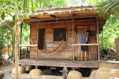 Sierra Leone tourism: bungalows at Tribewanted eco-resort, John Obey beach.