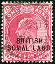 Somaliland Protectorate (British Somaliland) 1903 Scott 22 carmine rose Stamps of India Overprinted Rare Stamps, Vintage Stamps, Colonial, Somali, Commonwealth, Ethiopia, Empire, British, History