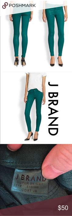 New J Brand Coated Jade Super Skinny Jeans Formerly known as the 801 legging, J Brand added life to color to the 815 super skinny with a lustrous coating that looks and feels like leather, making this mid-rise super comfy. New without tags. Style: 815l596 J Brand Jeans Skinny