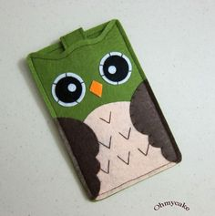 "iPhone Case - Cell Phone Case - iPhone 4 Case - iPod Case - iPod Touch Case - Handmade iPhone Felt Case - "" Green Owl "" Design. $19.00, via Etsy."