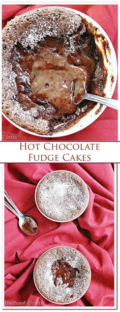 Hot Chocolate Fudge Cakes - It's cake. It's hot chocolate. It's gooey. The ultimate Mother's Day dessert for the chocolate-loving Mom! Mug Recipes, Sweet Recipes, Baking Recipes, Cake Recipes, Dessert Recipes, Chocolate Treats, Chocolate Fudge, Chocolate Recipes, Chocolate Lovers