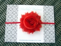 Sweet Red Shabby Frayed Chiffon Rosette Flower by headbandblossoms, $5.75
