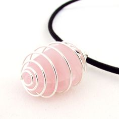 Rose Quartz Pendant Necklace, Caged Rose Quartz Pendant Necklace, Cord Necklace with Love Stone Pendant, Trendy Stone Cord Necklace by EarthlieTreasures on Etsy