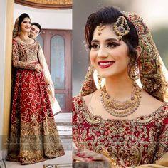 Khushbakht gorgeous on her barat in Farah & Fatima Bridal Mehndi Dresses, Pakistani Bridal Makeup, Pakistani Wedding Outfits, Indian Bridal Fashion, Bridal Outfits, Bridal Lehenga, Pakistani Dresses, Indian Outfits, Pakistan Bride
