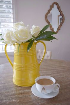 Fall is just around the corner, and I'll be using yellow in my decor.  I love this large yellow vase for fresh flowers or Fall leaves and branches.  Sponsored by HomeGoods.
