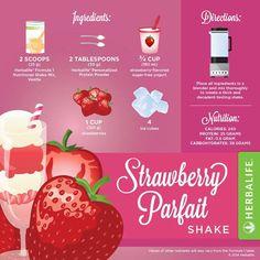 Herbalife Strawberry Parfait Shake More Herbalife F1, Herbalife Meal Plan, Herbalife Distributor, Herbalife Nutrition, Herbalife Motivation, Herbalife Products, Nutrition Club, Nutrition Shakes, Healthy Shakes