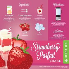 Strawberry Parfait Herbalife shake recipe - resep shake Herbalife. Klik disini untuk memulai program anda