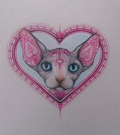 Limited Edition Valentines #Mehndi #Tattooed #Sphynx Cat Card Print, View more on the LINK: http://www.zeppy.io/product/gb/3/223104031/