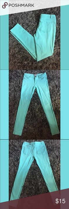 Aqua Colored Jeggings PRODUCT DETAILS: (Lightly Used)  * Brand: Iris Jeans  * Size Large (Juniors) * Very Stretchy  * Low Rise Iris Jeans Pants Leggings