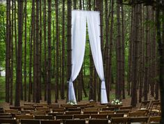 Outdoor ceremony. Awesome. (Ceremony at the Pine Grove - http://www.theroxburybarn.com/galleries/gallery-ceremonies/)