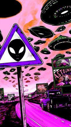 Art Alien, Trippy Alien, Hippie Wallpaper, Trippy Wallpaper, Wallpaper Quotes, Aztec Wallpaper, Office Wallpaper, Wallpaper Space, Pink Wallpaper
