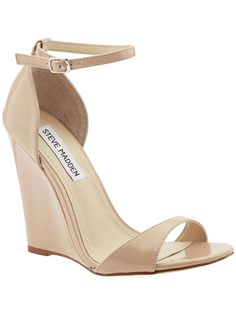 Steve Madden Realdeal WedgesA wedge heel wont sink into the ground when you walk, and neutral tone wont compete with a bright neon dress.