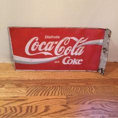 Vintage Metal Mexican Disfruta Coca Cola Coke 2-sided Sign #CocaCola