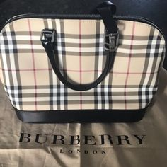 72187569a5b Details about Authentic BURBERRY Nova Check Hand Bag PVC Leather Smoke Gray  Pre-owned