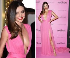 Miranda Kerr stunned in her hot pink Emanuel Ungaro dress at the Magnum party in Cannes