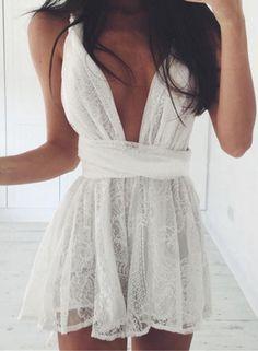 Lace Deep V Neck Sleeveless Mini Dress