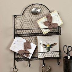 Gerson 91700 Metal Chicken Wire Wall Organizer Shelf- Pack of 4