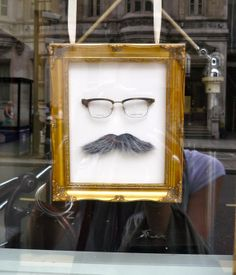 #Movember #Eyeglasses window display - optometrist in Fleet Street.