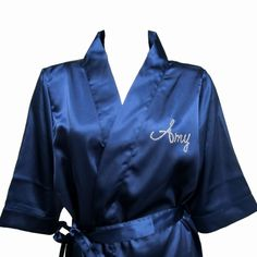 Rhinestone Script Font Monogram Satin Kimono Style Robe
