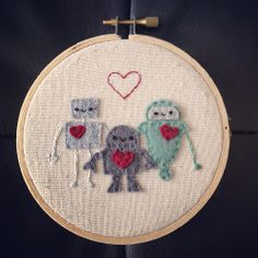 Love Robots Embroidery Hoop