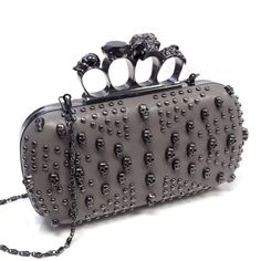 Studded Skull Ring Knuckle Clutch Evening Handbag - GREY - With Free Silver Stone Bracelet From Styleinch by bagsdy