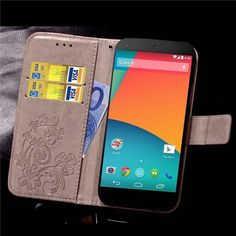 For Google LG Nexus 5 Case Cover Flip Wallet Case Four Leaf Clover Pattern Cell PU Leather Phone Bags For Nexus 5 Fundas Coque