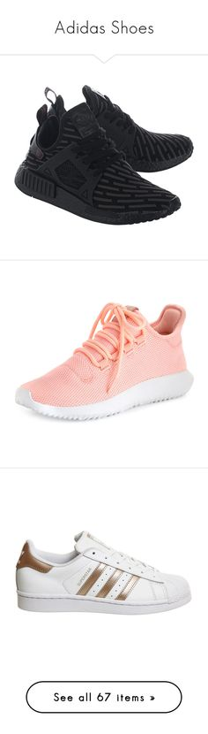 """""""Adidas Shoes"""" by basketballislife11 ❤ liked on Polyvore featuring shoes, sneakers, adidas originals shoes, flexible shoes, textile shoes, adidas originals sneakers, black sneakers, pink, adidas trainers and adidas"""