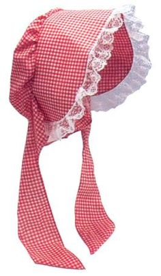 Red Cotton Gingham Bonnet | Prairie Girl Bonnet for a pioneer costume. #red #gingham