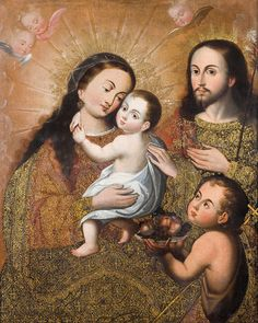 The Holy Family with Saint John the Baptist and a Goldfinch, by an Anonymous painter of the Cuzco School; Museo de Arte de Lima, Lima, Peru; c.1730 - 1760