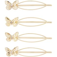 Accessorize 4 x Metal Oval Butterfly Hair Slides (£13) ❤ liked on Polyvore featuring accessories, hair accessories, hair, hair decor, butterfly hair accessories and metal hair accessories