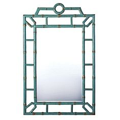 Bungalow Mirror.  Fur turquoise color!  Lacquered but crafted to resemble bamboo.  Perfect for beach house...