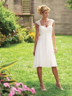 Chiffon Tea-length A-line Sweetheart Bridal Dress with Tapered Straps