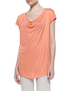 Neiman Marcus Cowl-Neck Short-Sleeve Tee, Coral, Women's, Size: X-LARGE (16-18)