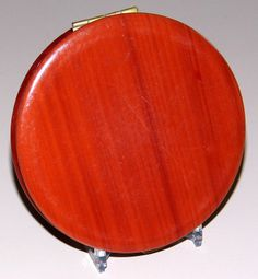 Vintage Max Factor Powder Compact, Woodgrain Finish, 3.5 Inches In Diameter.